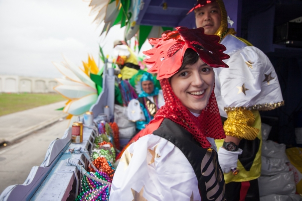 When I rode on a Mardi Gras float in 2013 for Nat Geo. Photo by Emily Slack